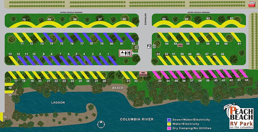 Peach Beach Campground RV Park Map